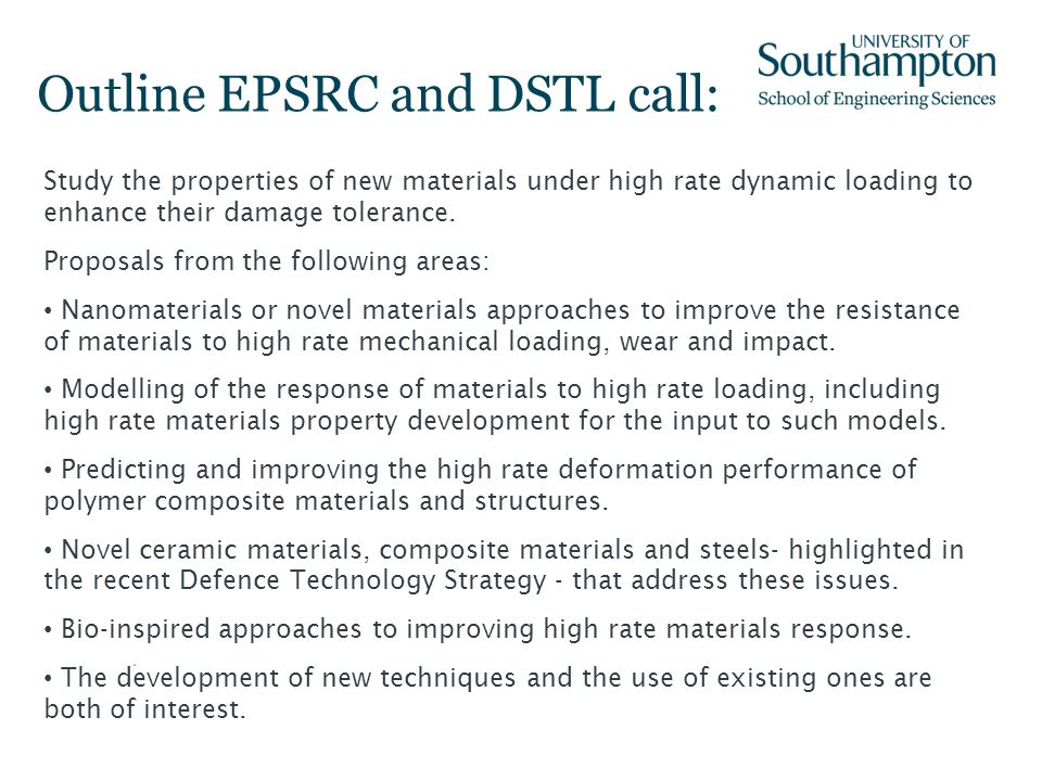 Outline EPSRC and DSTL call: