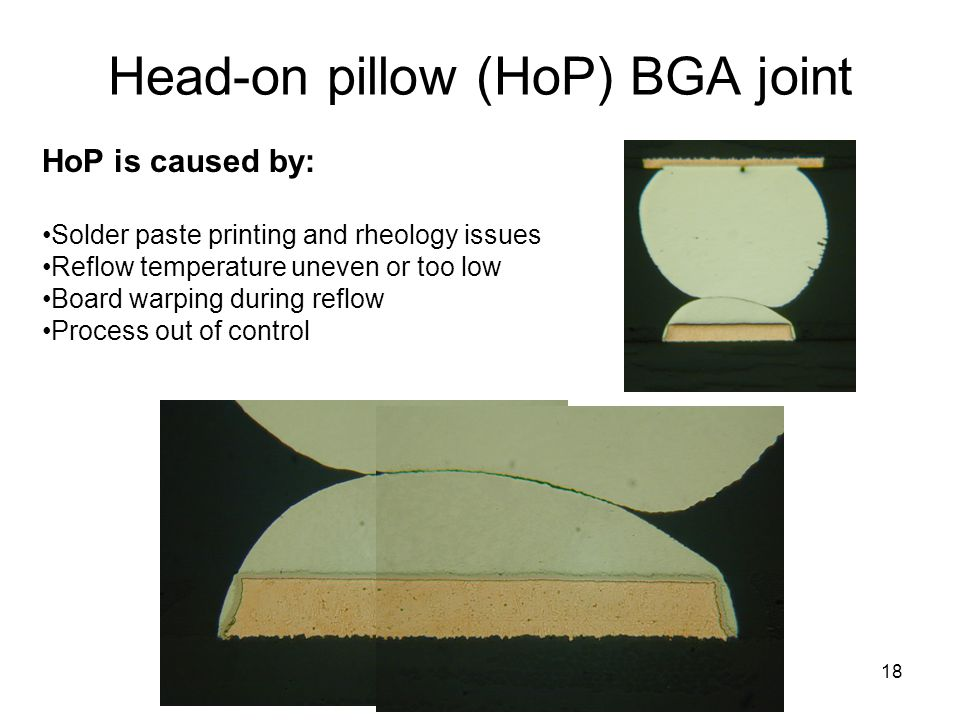 Head-on pillow (HoP) BGA joint