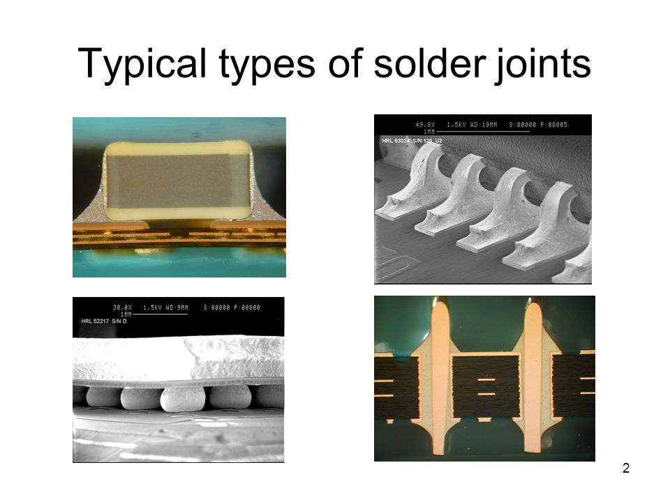 Typical types of solder joints