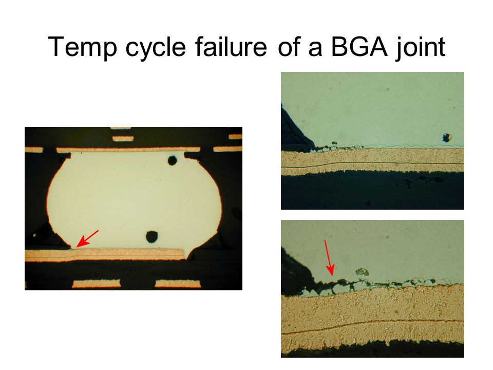 Temp cycle failure of a BGA joint