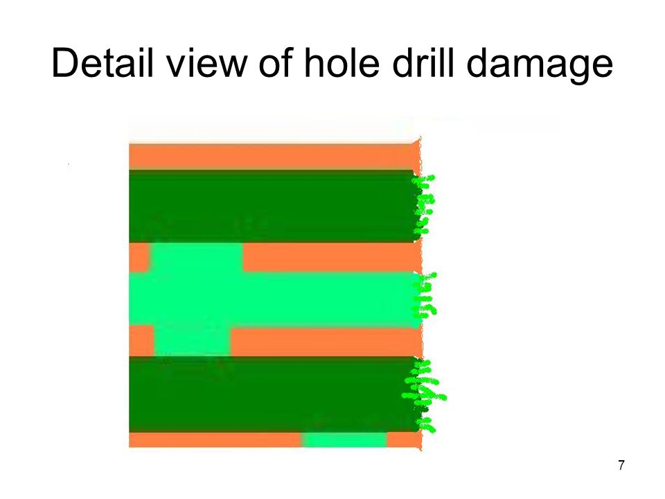 Detail view of hole drill damage