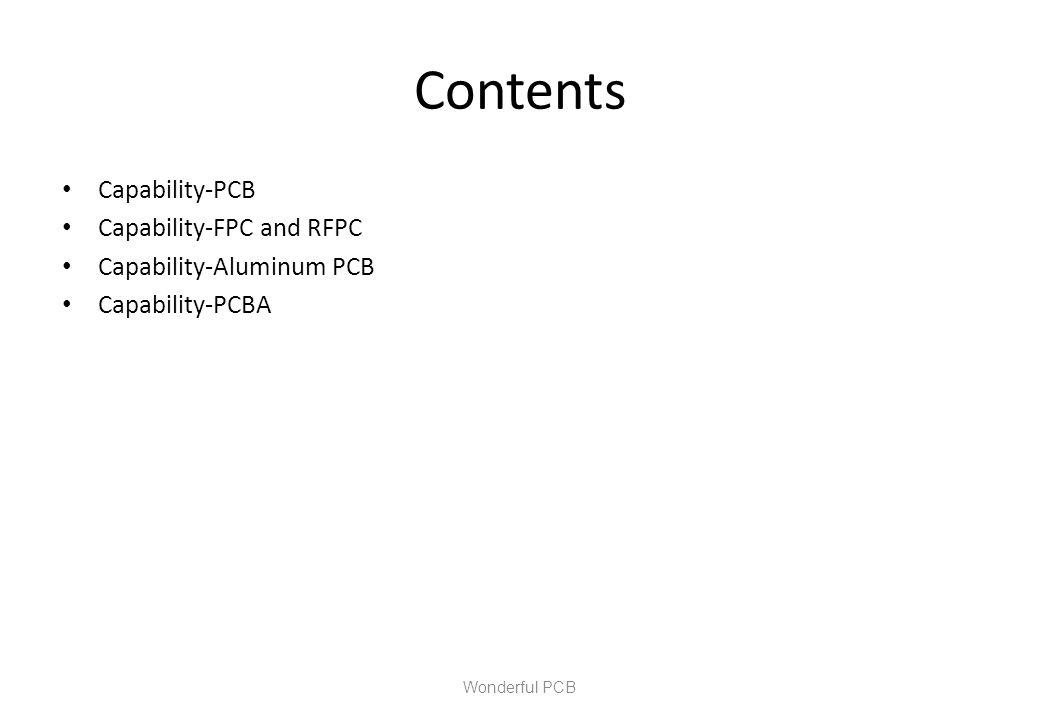 Contents Capability-PCB Capability-FPC and RFPC