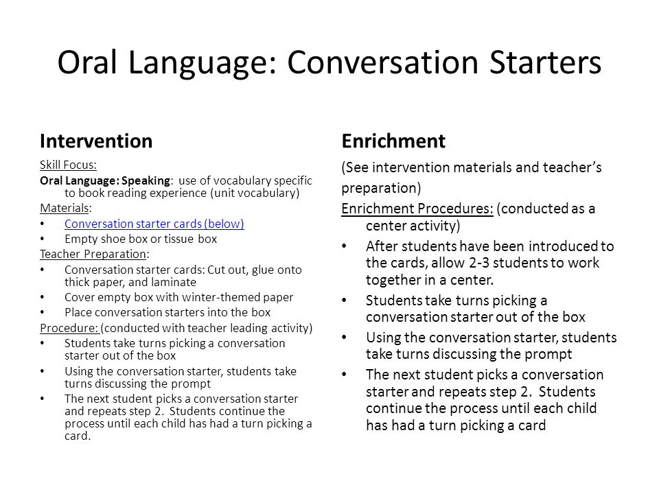 Oral Language: Conversation Starters