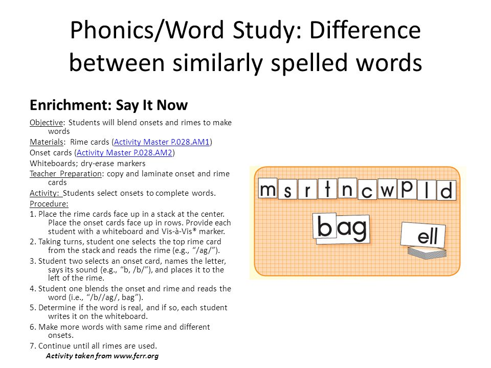 Phonics/Word Study: Difference between similarly spelled words