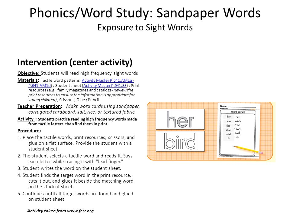 Phonics/Word Study: Sandpaper Words Exposure to Sight Words
