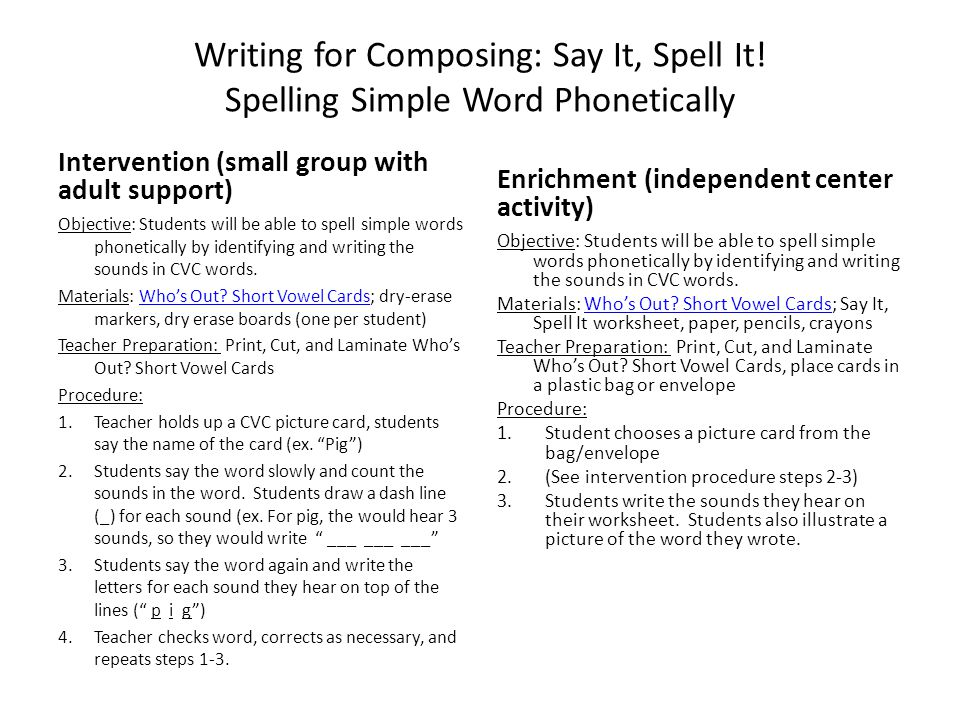 Writing for Composing: Say It, Spell It