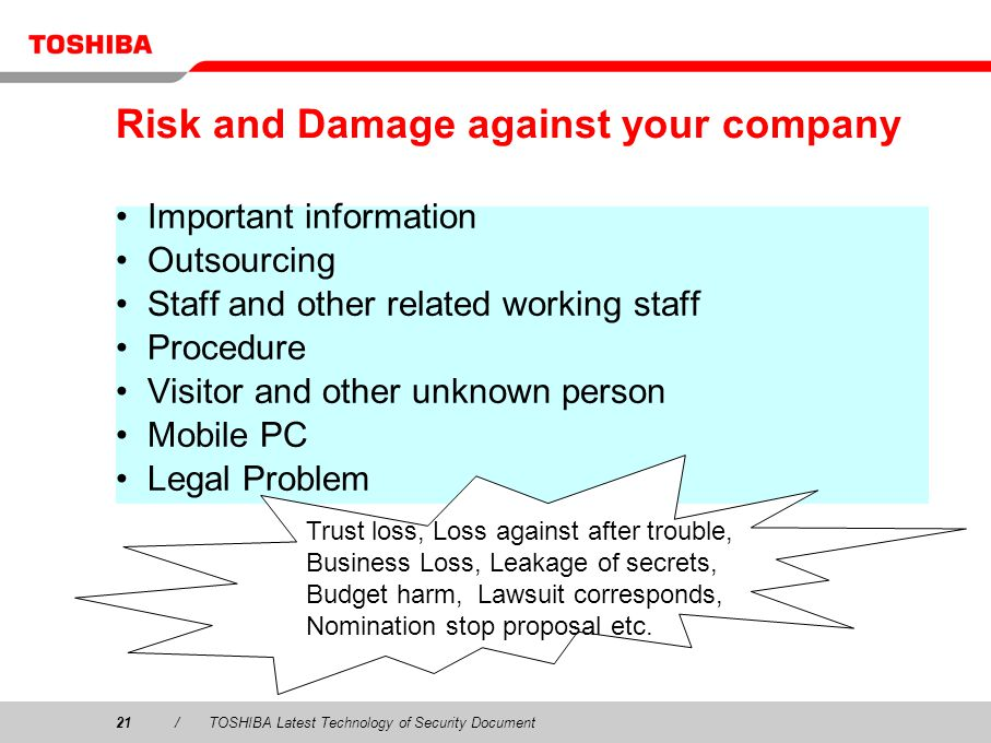 Risk and Damage against your company