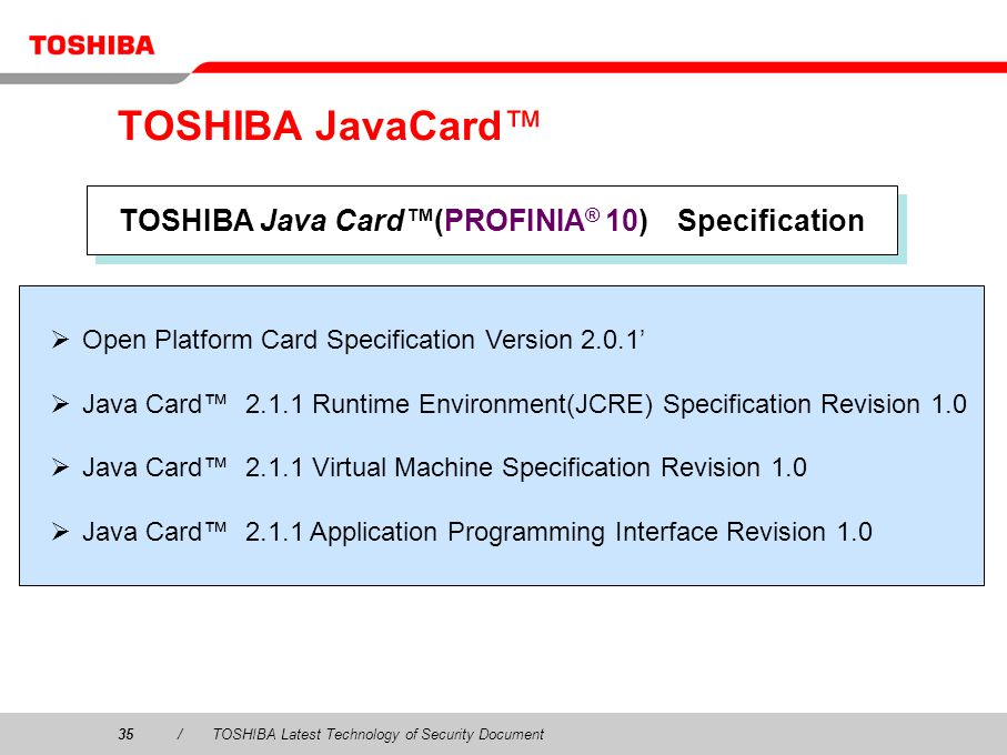 TOSHIBA Java Card™(PROFINIA® 10) Specification