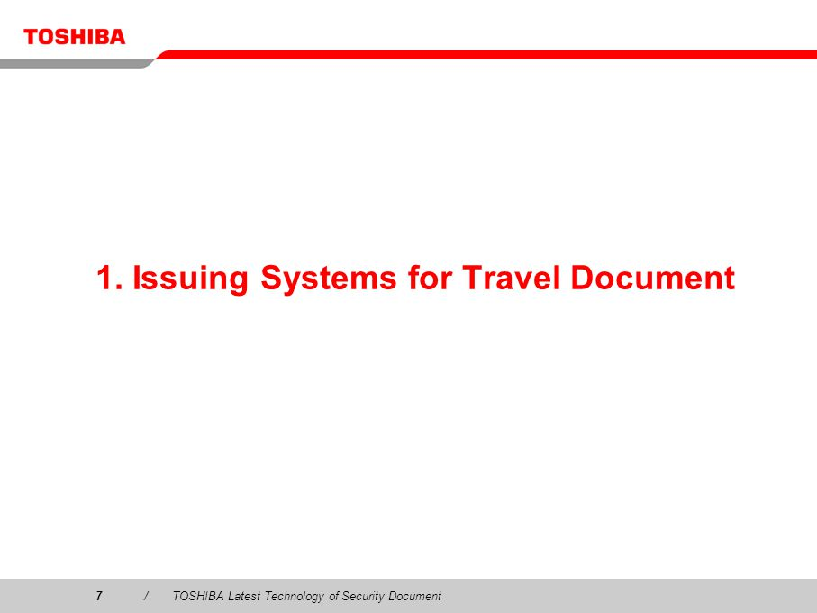 1. Issuing Systems for Travel Document