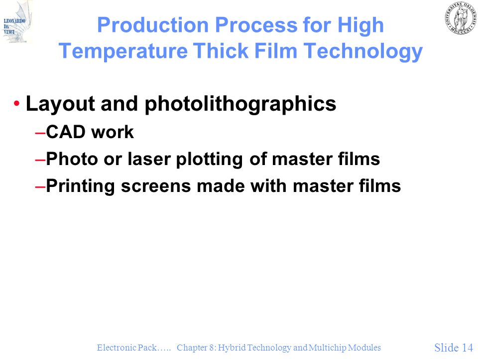 Production Process for High Temperature Thick Film Technology