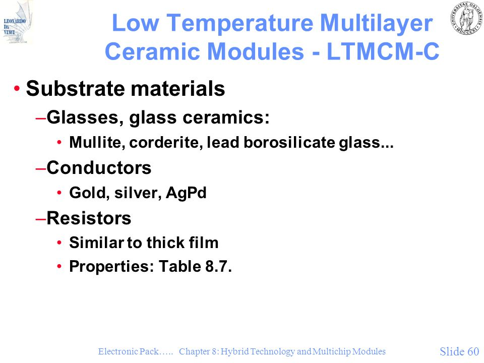 Low Temperature Multilayer Ceramic Modules - LTMCM-C