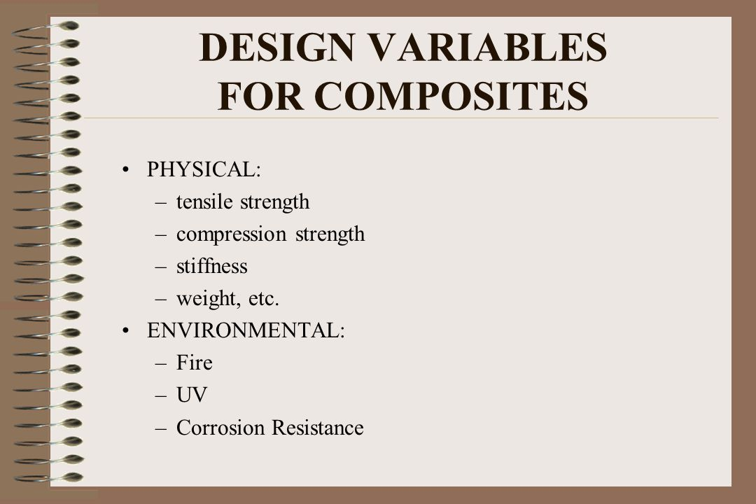 DESIGN VARIABLES FOR COMPOSITES