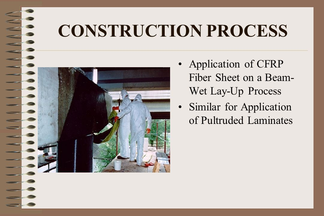 CONSTRUCTION PROCESS Application of CFRP Fiber Sheet on a Beam- Wet Lay-Up Process.