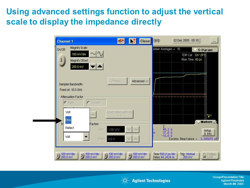 Using advanced settings function to adjust the vertical scale to display the impedance directly