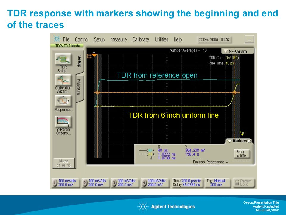 TDR response with markers showing the beginning and end of the traces