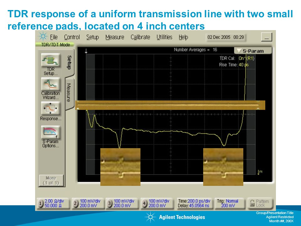 TDR response of a uniform transmission line with two small reference pads, located on 4 inch centers