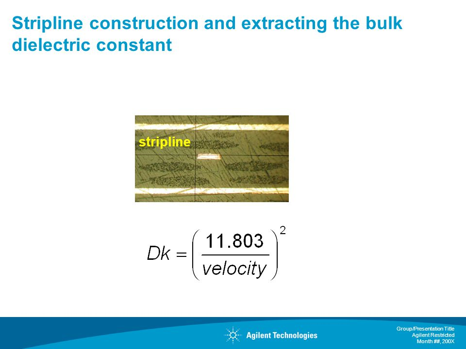 Stripline construction and extracting the bulk dielectric constant