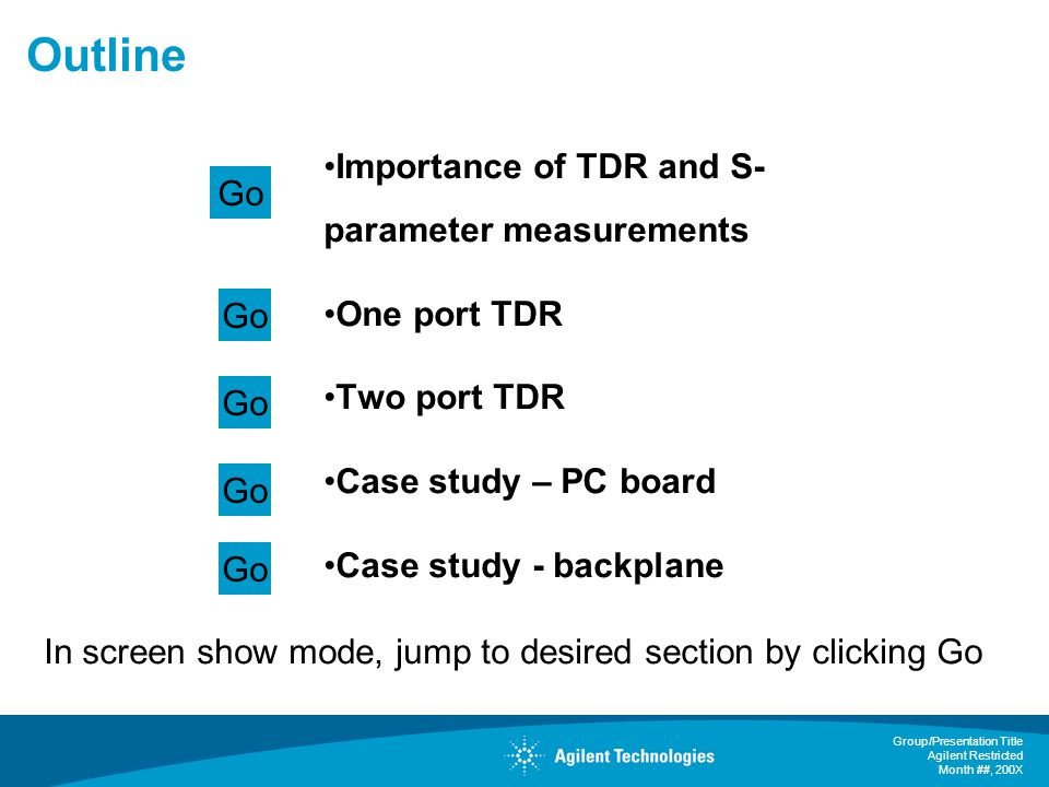 Outline Importance of TDR and S-parameter measurements Go One port TDR