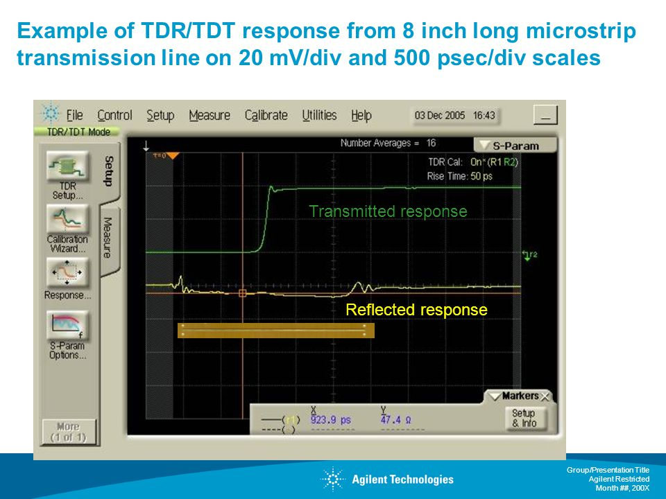 Example of TDR/TDT response from 8 inch long microstrip transmission line on 20 mV/div and 500 psec/div scales