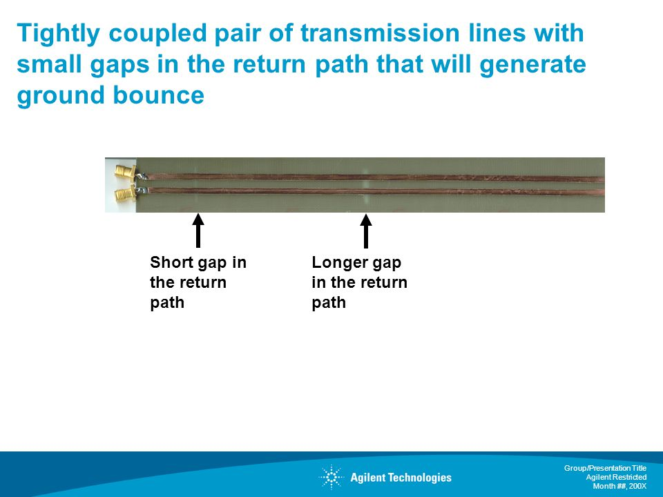 Tightly coupled pair of transmission lines with small gaps in the return path that will generate ground bounce
