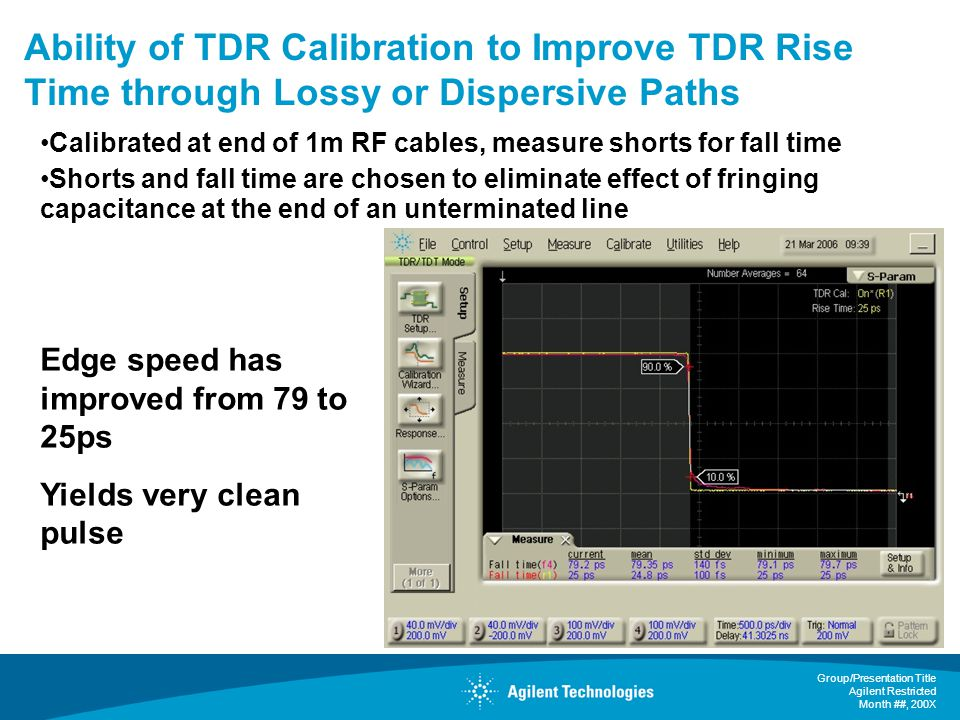 Ability of TDR Calibration to Improve TDR Rise Time through Lossy or Dispersive Paths