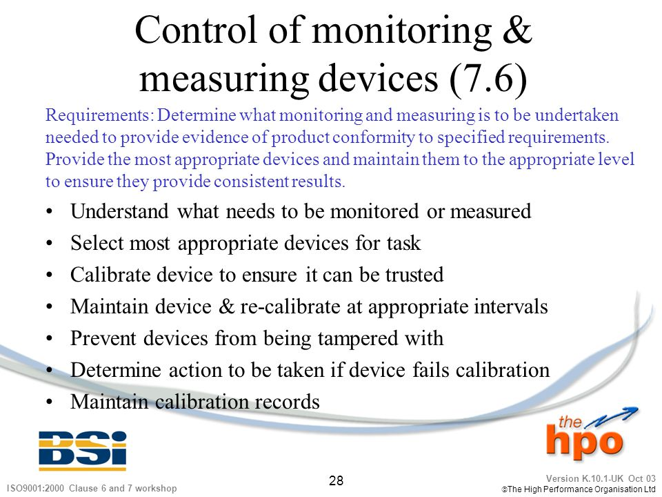 Control of monitoring & measuring devices (7.6)