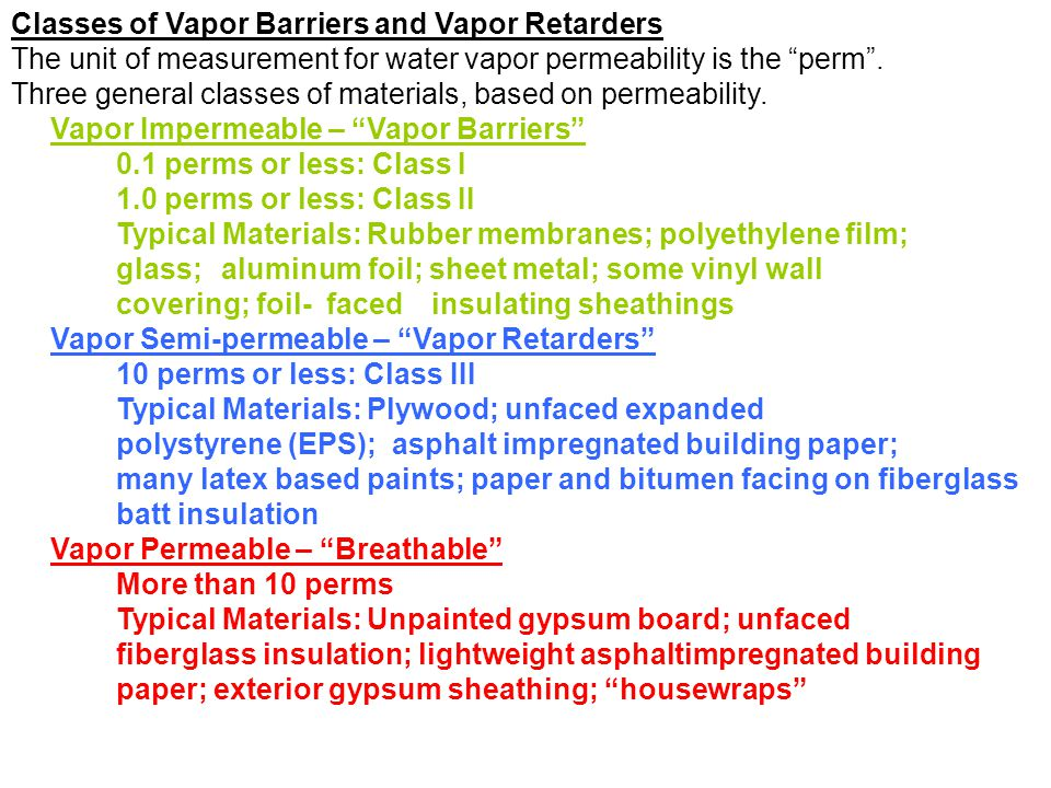 Classes of Vapor Barriers and Vapor Retarders