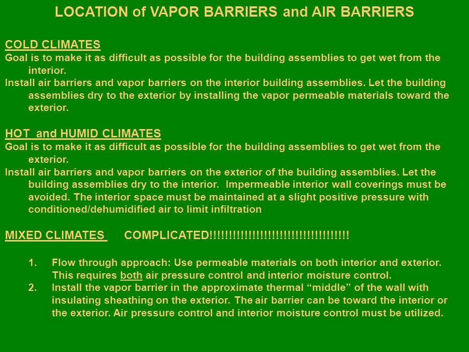 LOCATION of VAPOR BARRIERS and AIR BARRIERS