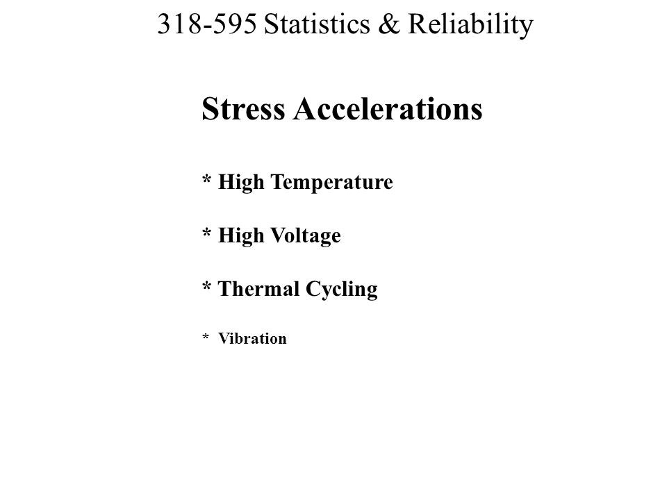 Stress Accelerations. High Temperature. High Voltage. Thermal Cycling