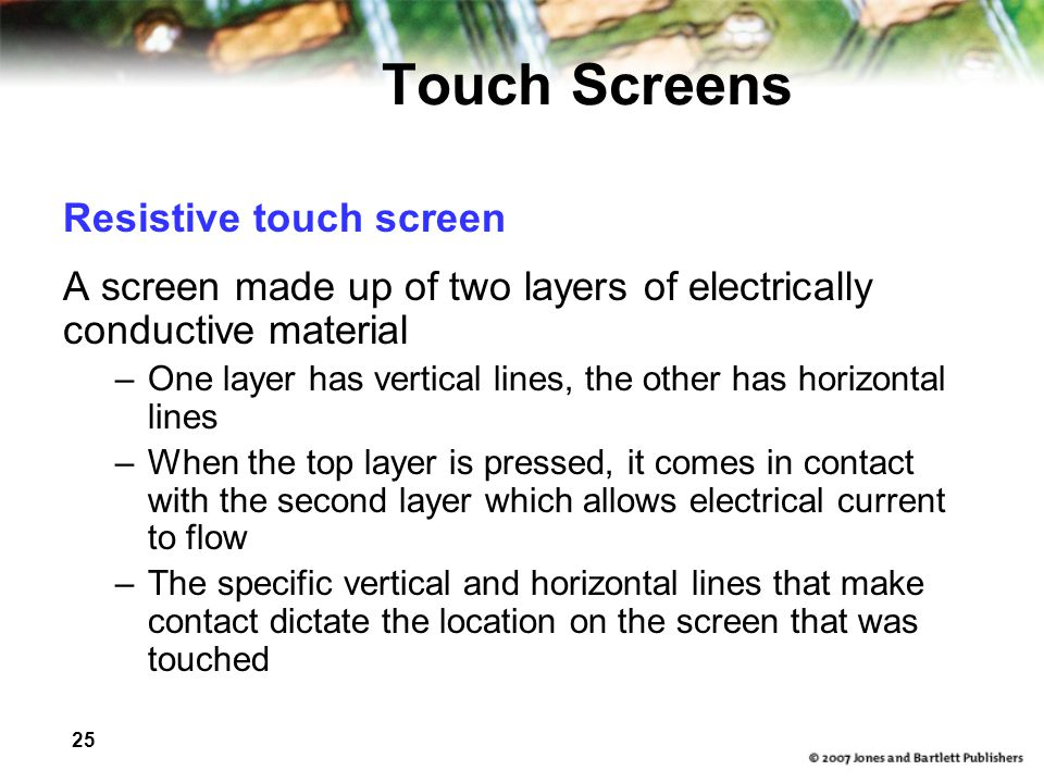 Touch Screens Resistive touch screen
