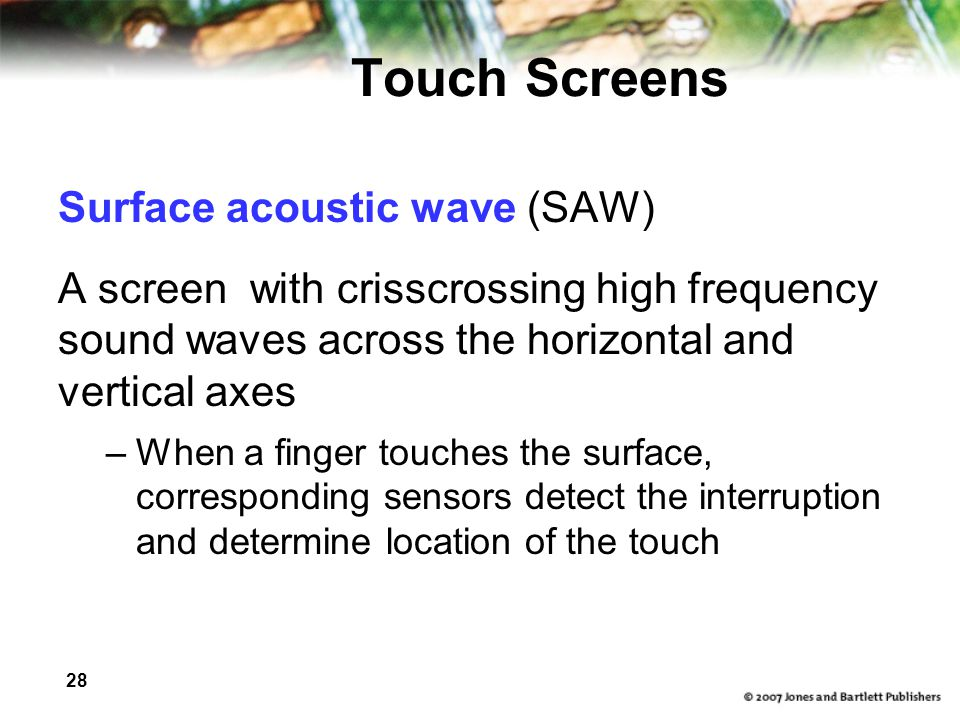 Touch Screens Surface acoustic wave (SAW)