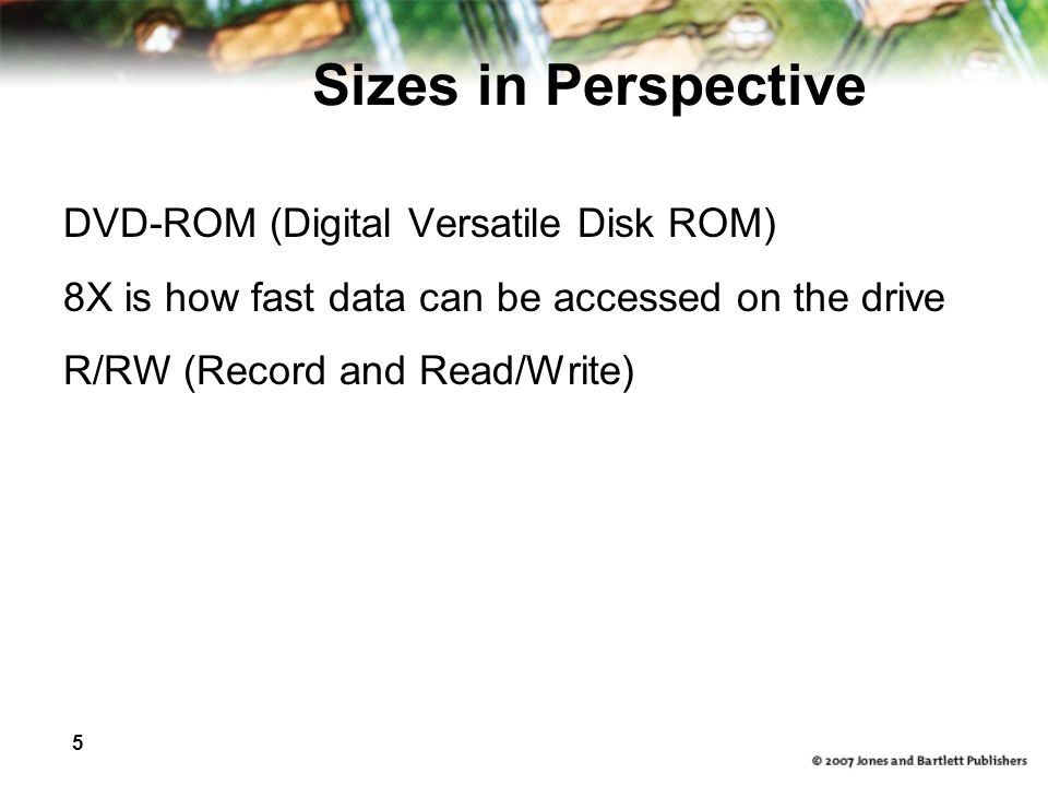 Sizes in Perspective DVD-ROM (Digital Versatile Disk ROM)