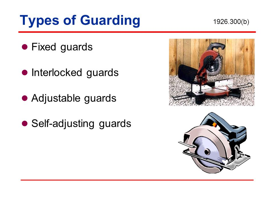 Types of Guarding Fixed guards Interlocked guards Adjustable guards