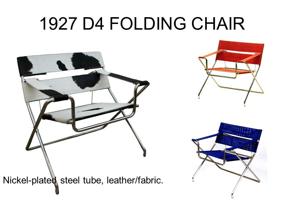1927 D4 FOLDING CHAIR Nickel-plated steel tube, leather/fabric.