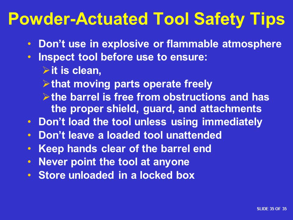 Powder-Actuated Tool Safety Tips