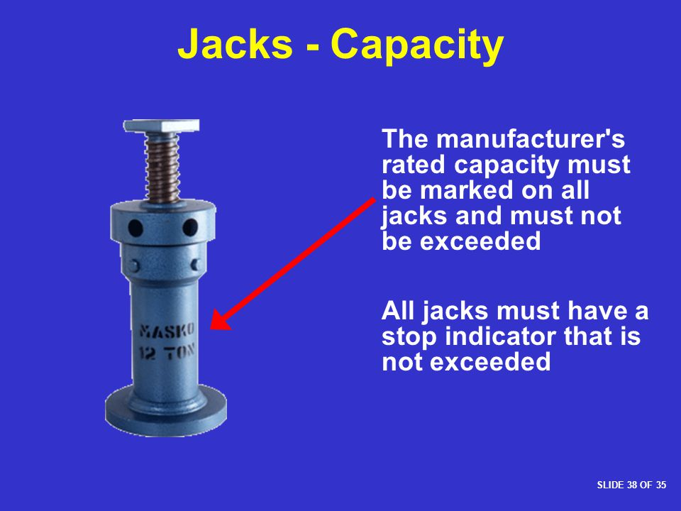 Jacks - Capacity The manufacturer s rated capacity must be marked on all jacks and must not be exceeded.
