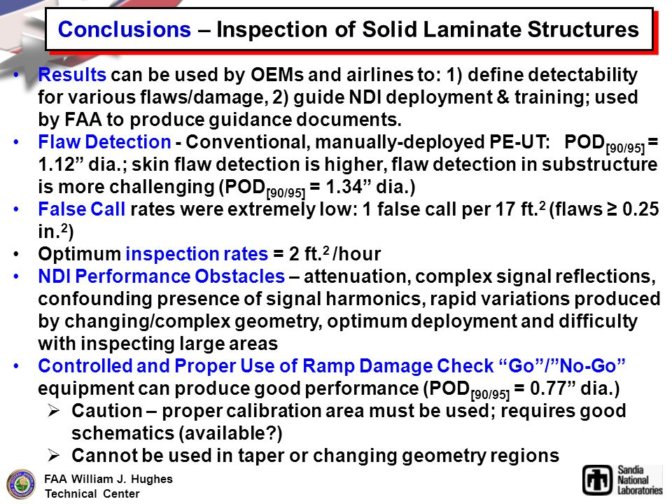 Conclusions – Inspection of Solid Laminate Structures