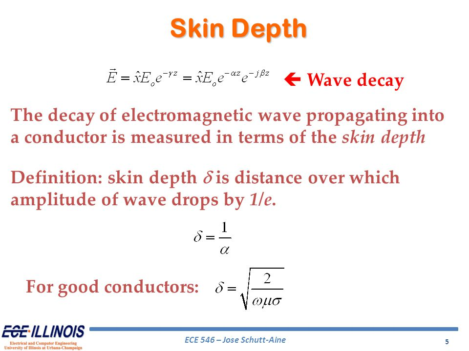 Skin Depth  Wave decay. The decay of electromagnetic wave propagating into a conductor is measured in terms of the skin depth.