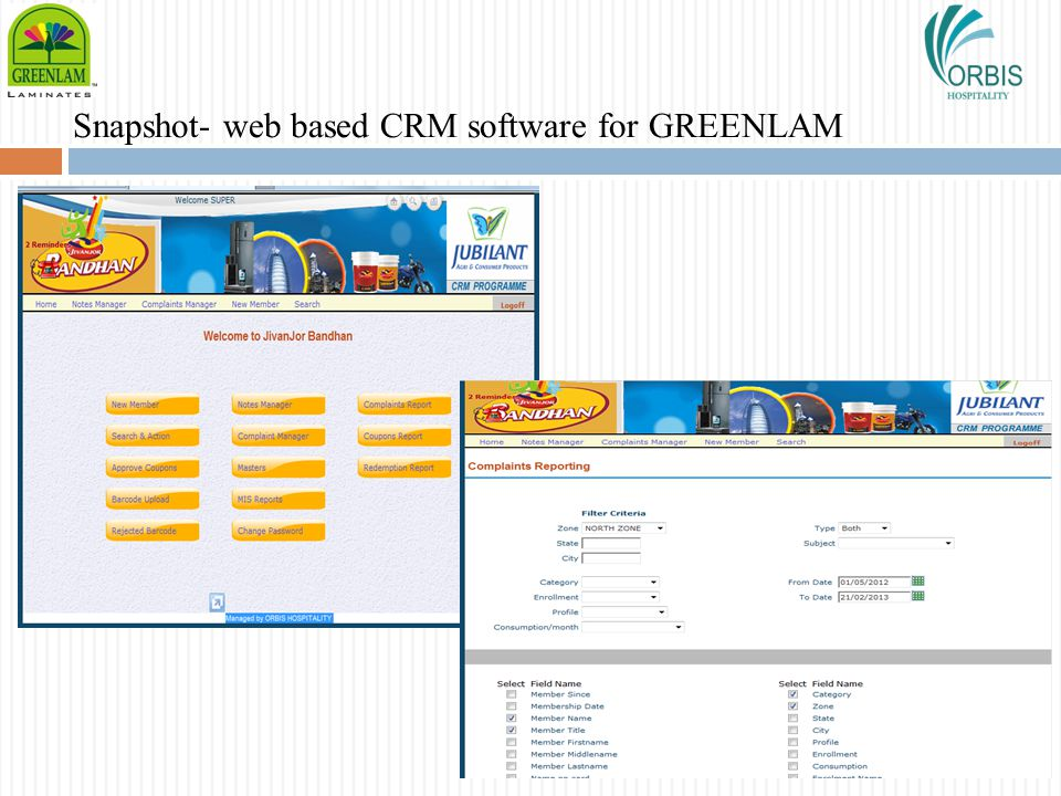 Snapshot- web based CRM software for GREENLAM