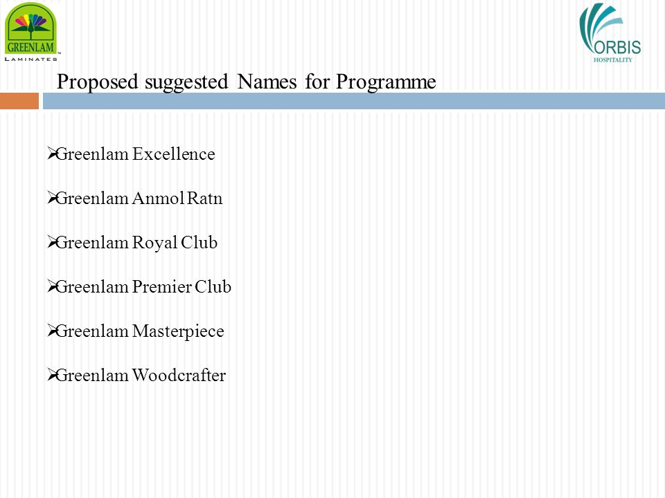 Proposed suggested Names for Programme