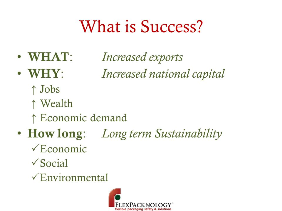What is Success WHAT: Increased exports