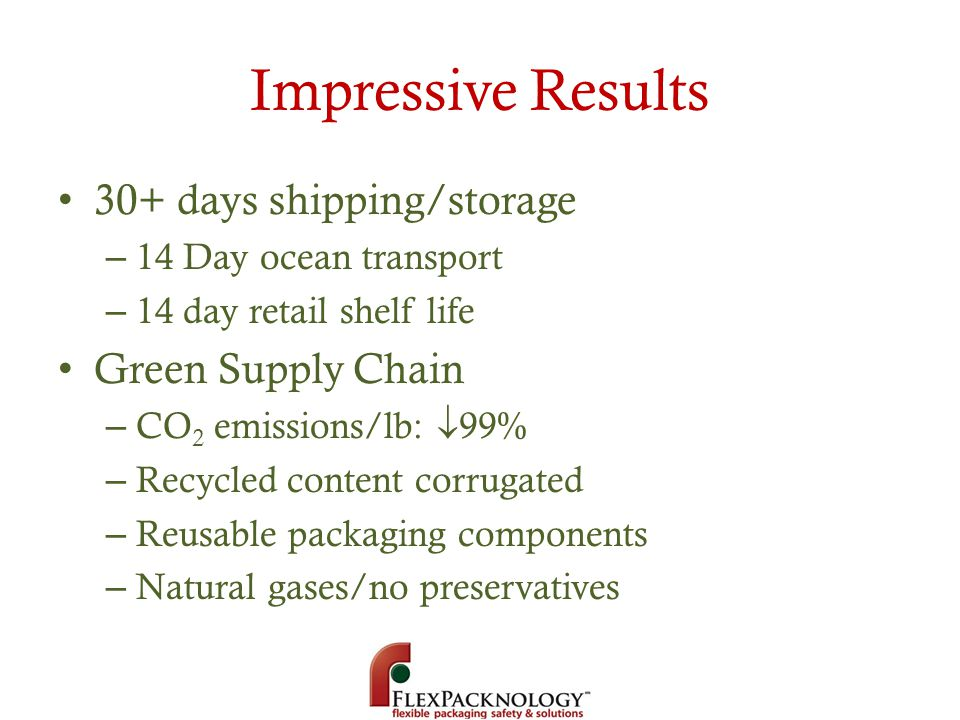 Impressive Results 30+ days shipping/storage Green Supply Chain