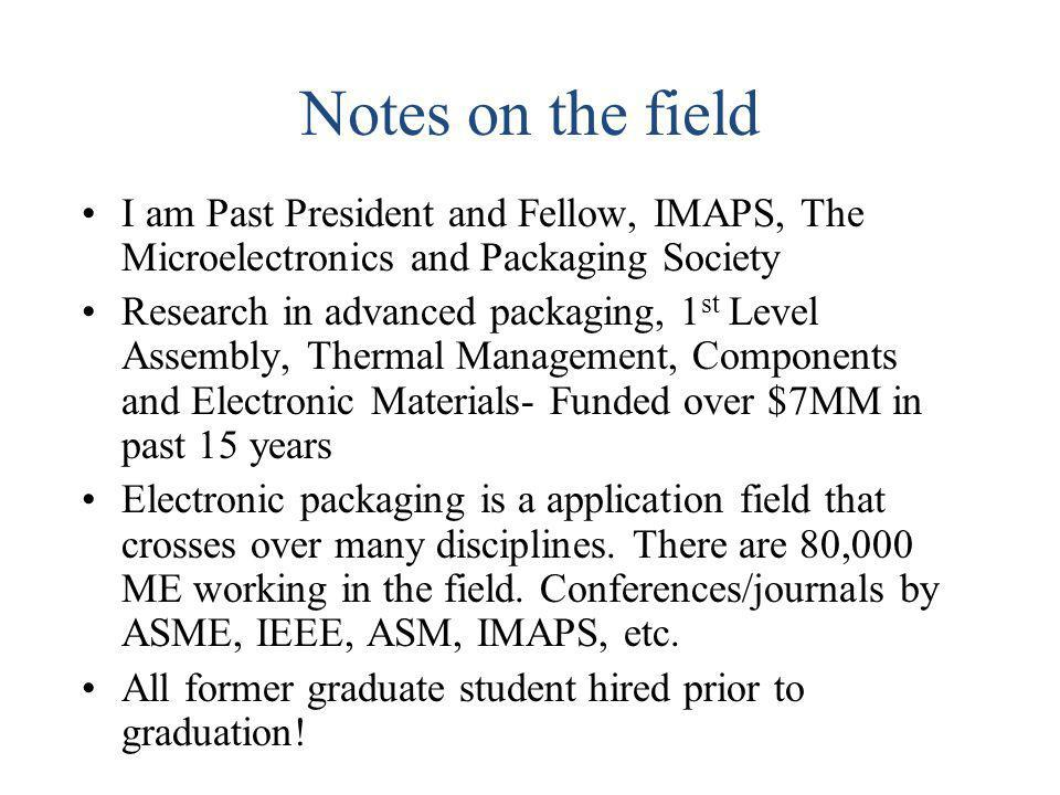 Notes on the field I am Past President and Fellow, IMAPS, The Microelectronics and Packaging Society.