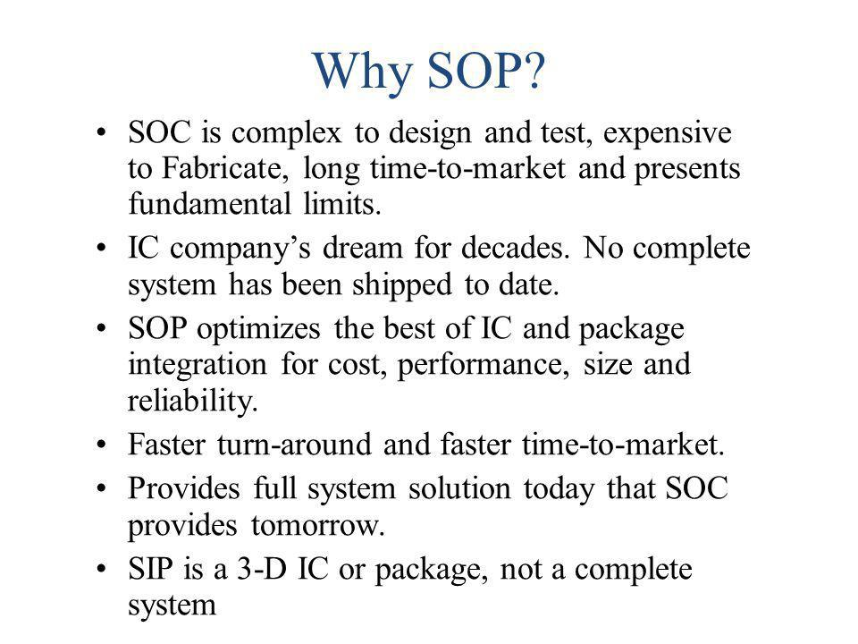 Why SOP SOC is complex to design and test, expensive to Fabricate, long time-to-market and presents fundamental limits.