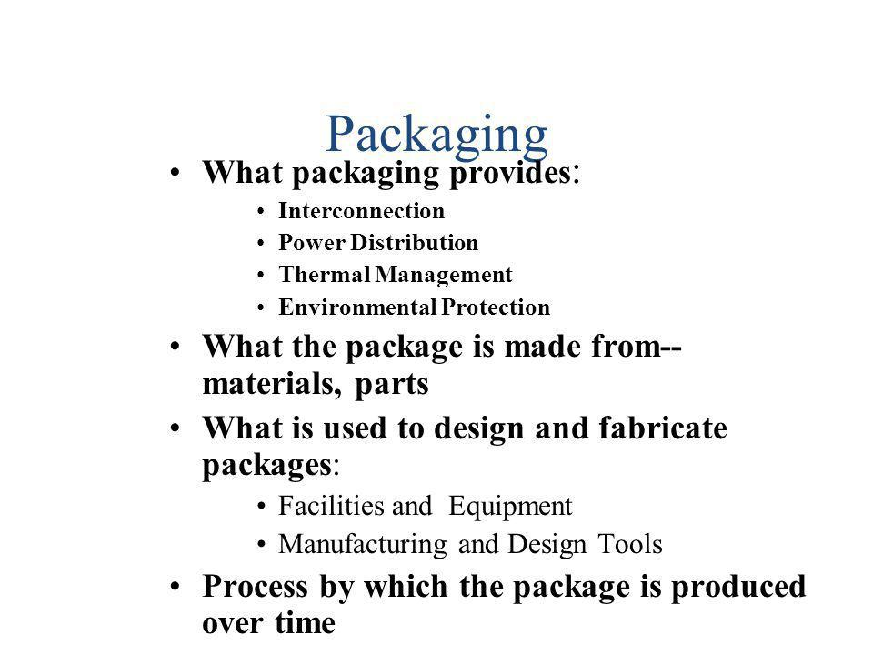 Packaging What packaging provides: