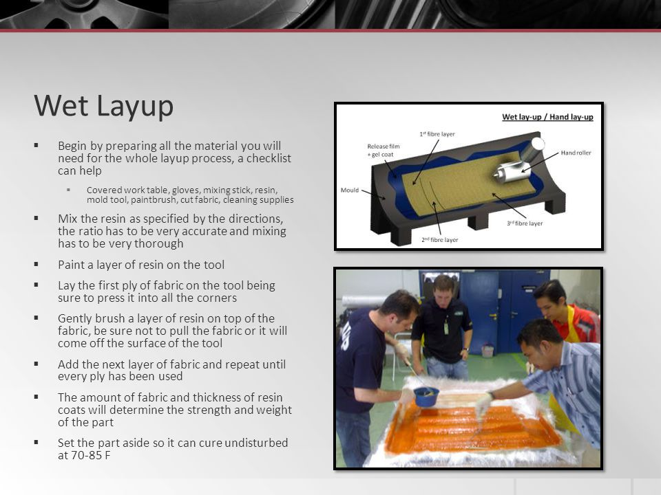 Wet Layup Begin by preparing all the material you will need for the whole layup process, a checklist can help.