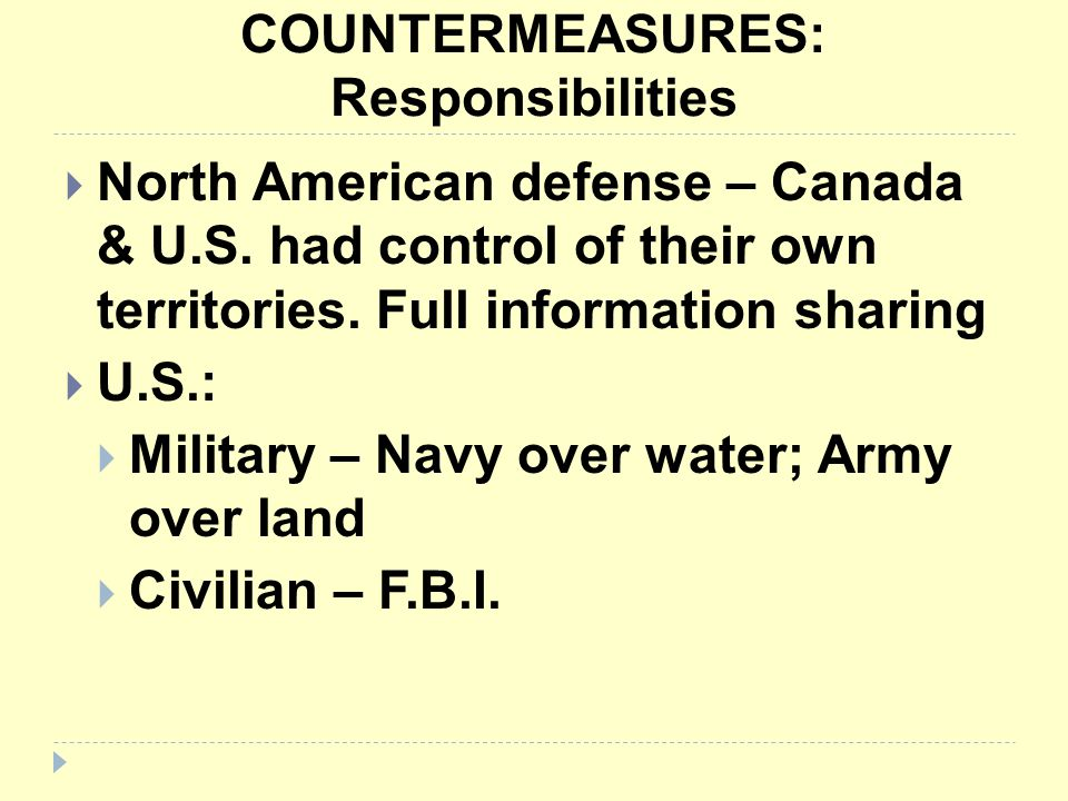COUNTERMEASURES: Responsibilities