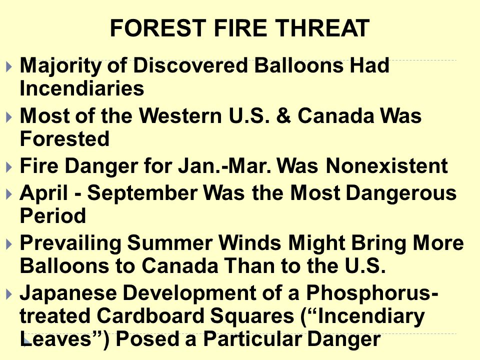 FOREST FIRE THREAT Majority of Discovered Balloons Had Incendiaries
