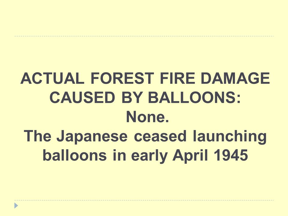 ACTUAL FOREST FIRE DAMAGE CAUSED BY BALLOONS: None