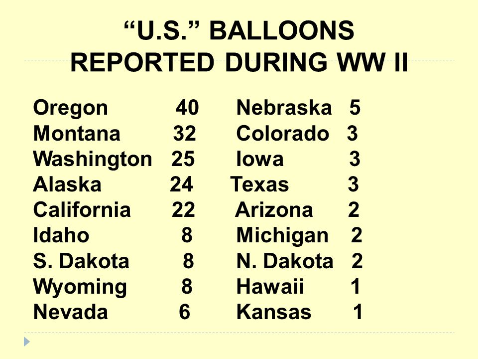 U.S. BALLOONS REPORTED DURING WW II
